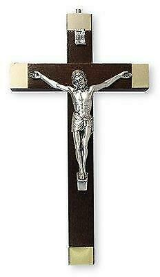 Walnut Wood Crucifix Cross Wall Hanging Silver Jesus Religious Gift