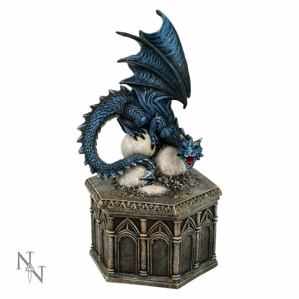 Blue Dragon Trinket Box Secret Stash Ornament Statue Home Decoration Gothic Gift