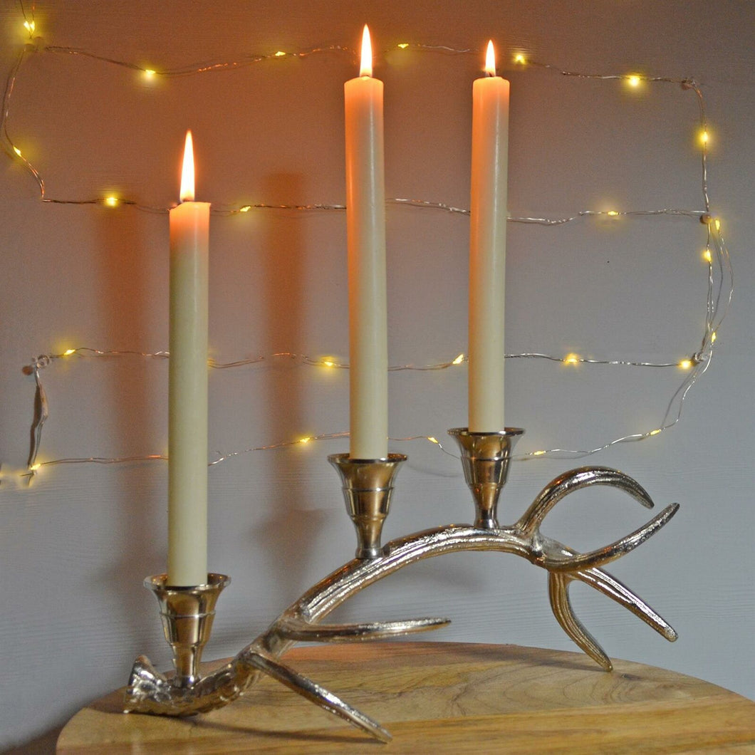 Silver Antler Three Taper Candle Holder Stag Deer Country Home Decor Gift