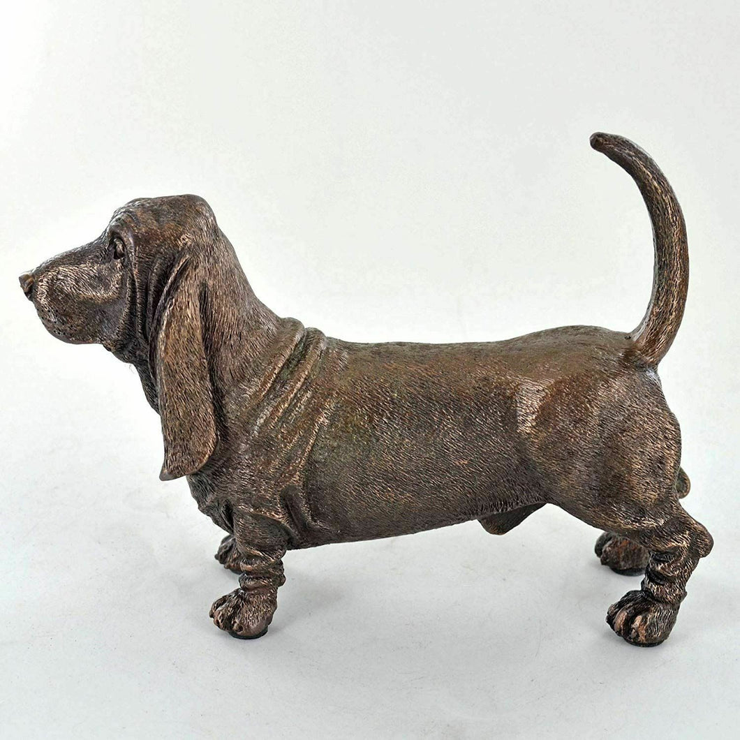 Bassett Hound Dog Sculpture Bronze Effect Statue Ornament Figurine Home Decor