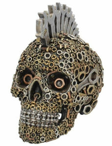 Mechanically Minded Steampunk Mohawk Skull Ornament Figure Figurine