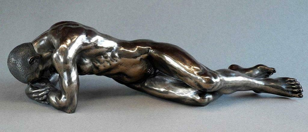 Bronze Erotic Male Nude Statue Figurine Naked Man Lying Sculpture Gift