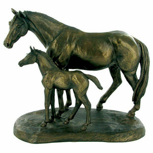 Bronze Mare and Foal Sculpture Horses Gifts Statue Figure Ornament