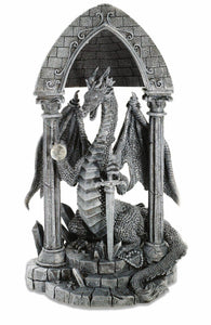 Stone Effect Dragon Guardian with Mystic Sword and Orb Figurine Fantasy Art