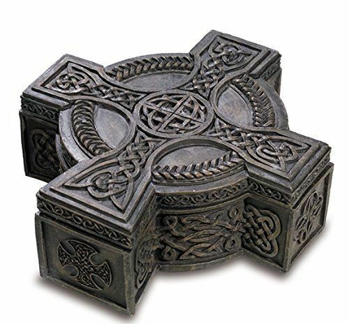 Pewter Effect Celtic Cross Box Ornament Secret Stash Home Decoration or Gift