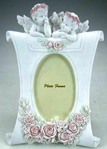 Novelty Cherubs Photo Picture Frame Pink Roses Ornament Sculpture Decoration