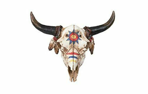 Bison Skull Decorated in War Paint Wall Plaque Native American Ornament