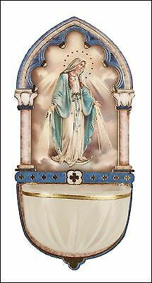 Miraculous Holy Water Font Luminous with Gold Foil Highlights Religious Gift