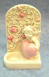 Beautiful Angel Cherub Holding Heart Candle Holder Ornament Mothers Gift Present
