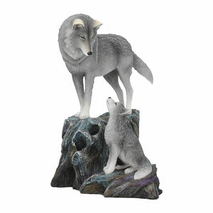 Guidance Ornament Wolf and Pup Figurine Statue Ornament Sculpture