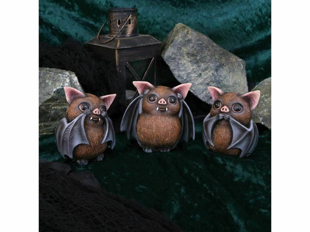 Three Wise Bats Comical Figurines Statues Ornaments Figures 8.5cm