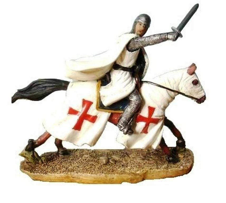 Templar Knight Charging on Horseback Figurine Sculpture Medieval Ornament