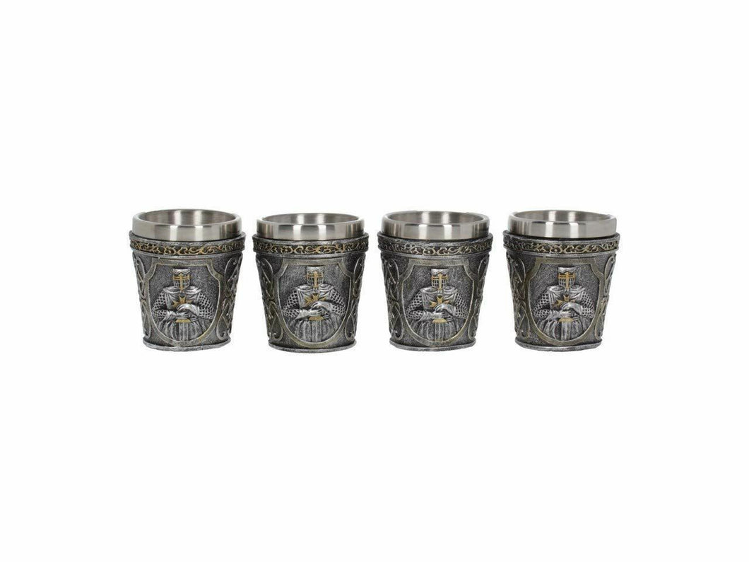 Set of 4 Templar Knights Shot Glasses Medieval Gift Ornaments 6.5cm