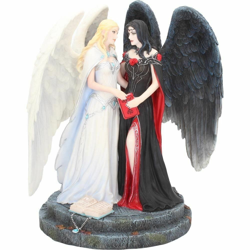 Dark and Light Angels Gothic Figurine Sculpture Ornament Statue