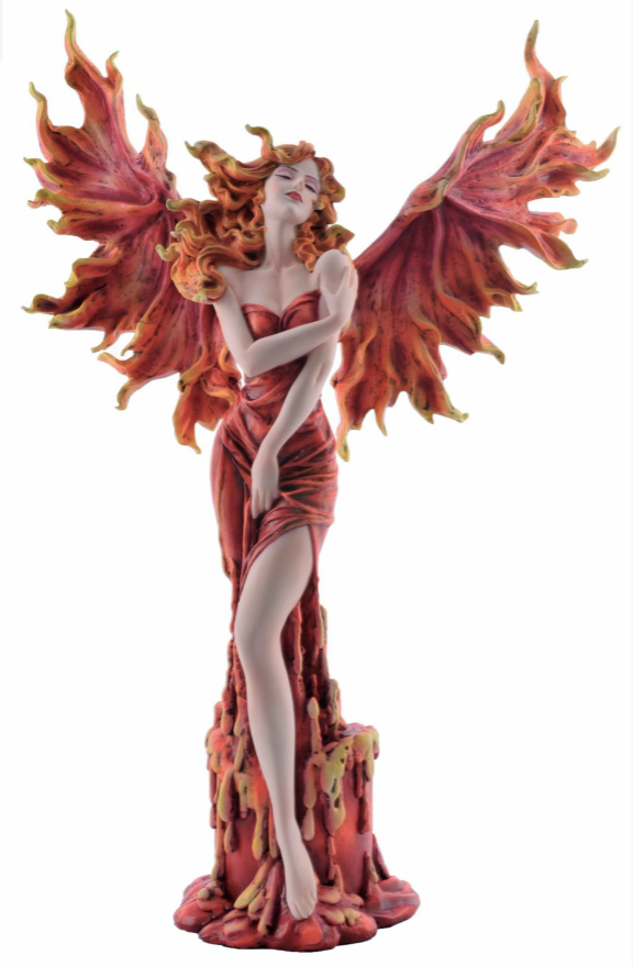 Large Red Fire Fairy Sculpture Phoenix Style Statue Figurine Ornament or Gift