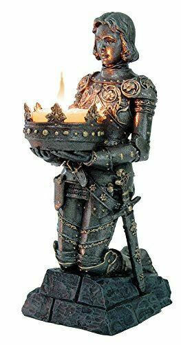 Stone Effect Medieval Knight Candle Holder