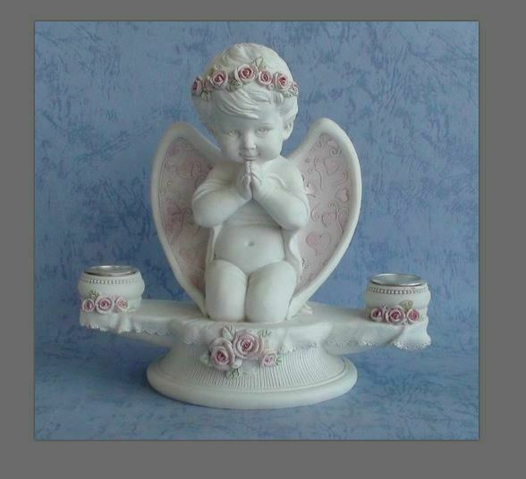 Guardian Angel Figurine Praying Cherub Candle Holder Statue Ornament Sculpture