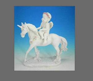 Guardian Angel Figurine Riding on Unicorn Companion Cherub Ornament Sculpture