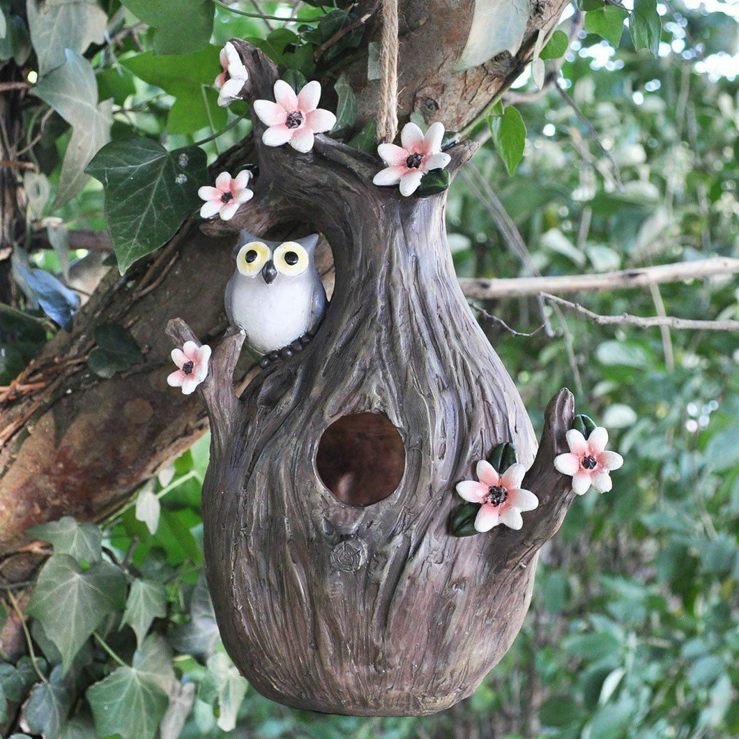 Bird House with Pink Flowers Birds Feeder Garden Ornament Decoration