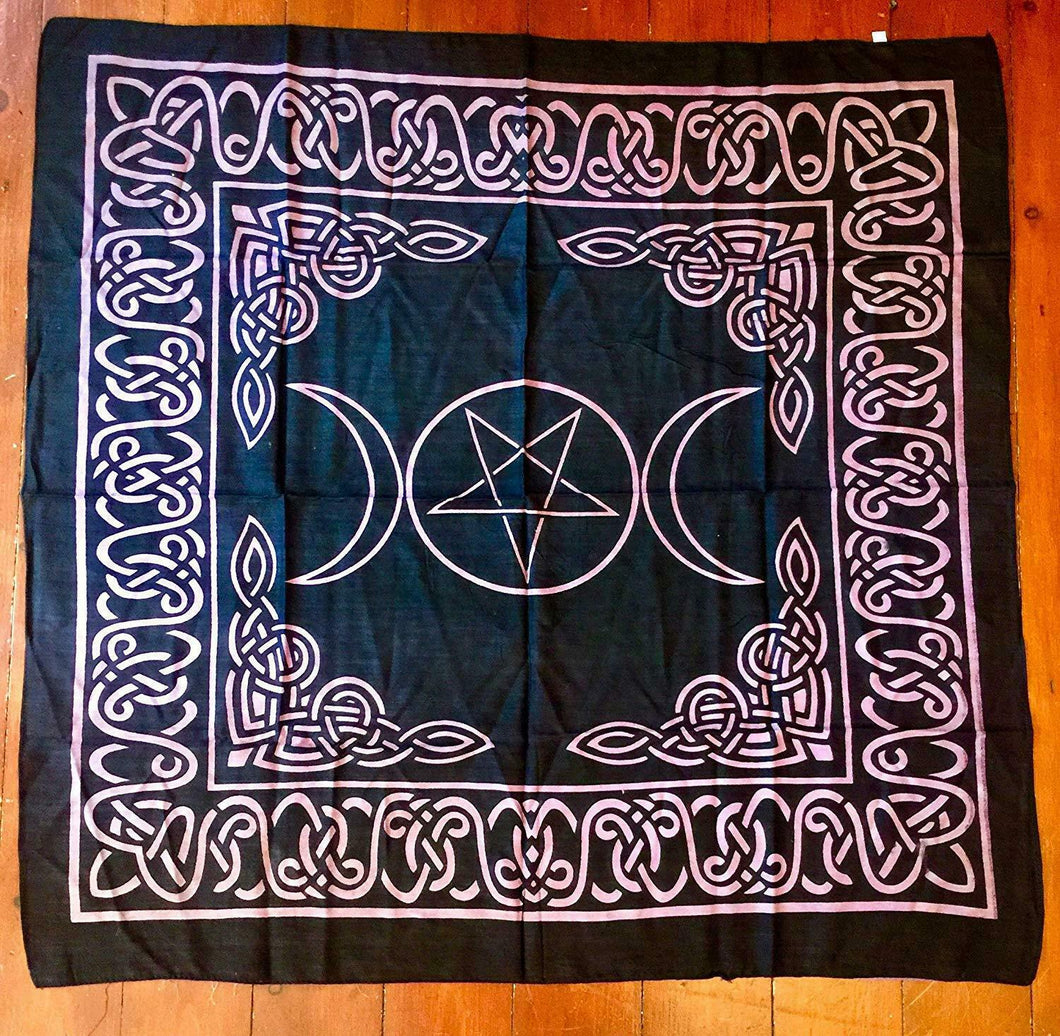 Triple Goddess Pentagram Altar Tarot Cloth Pagan Wiccan Table Cover Decoration