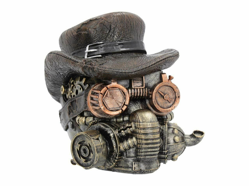Novelty Steampunk Style Skull with Hat and Goggles Figurine Sculpture Ornament