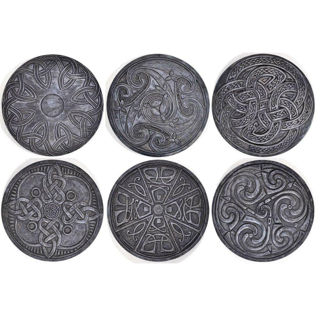 Black Celtic Round Drinks Coasters x 6 Gothic Pagan Table Decorations Gift