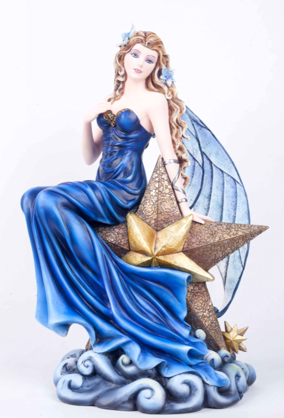 Large Celestial Fairy Resting on Star Sculpture Statue Figurine Ornament or Gift