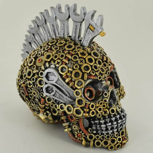 Mohawk Skull Steampunk Ornament Sculpture Decoration for Study Office Home
