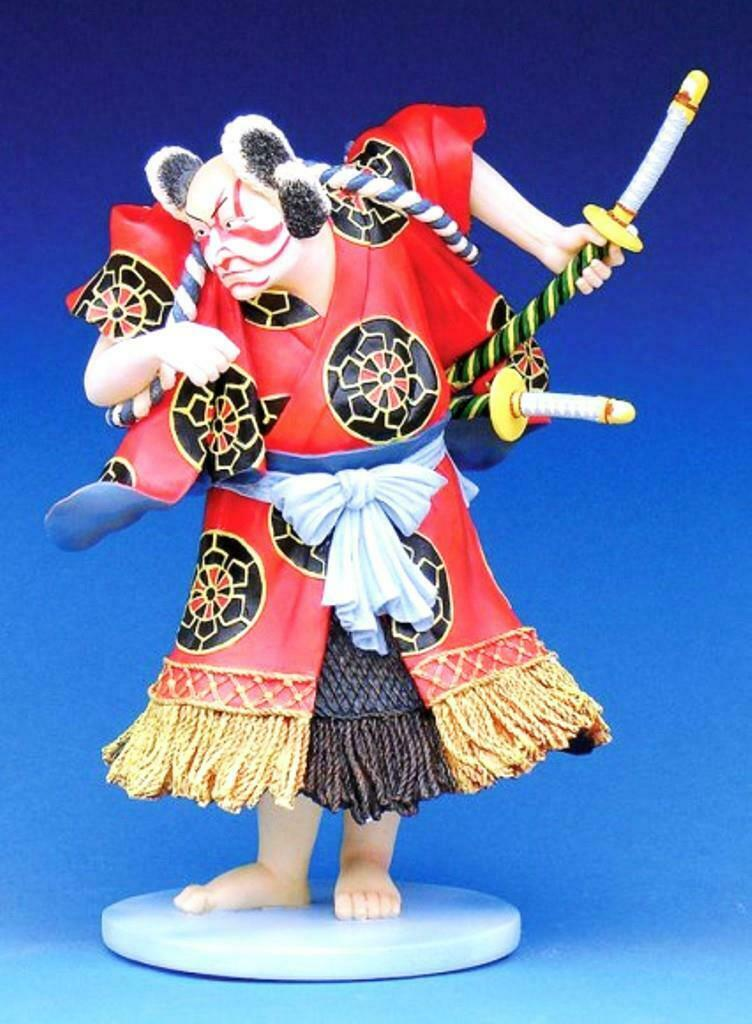 Kabuki with Sword Samurai Sculpture Statue Museum Reproduction Art