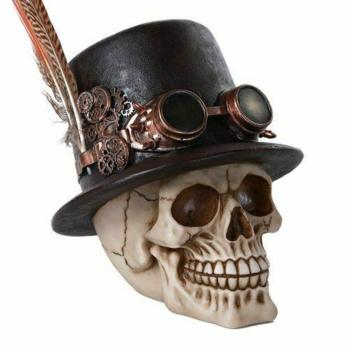 Steampunk Feathered Top Hat Skull with Steampunk Goggles Figurine Skull Decor