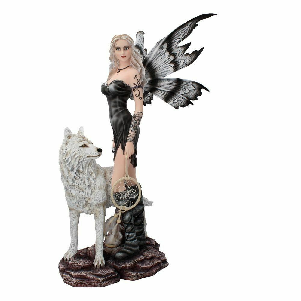 Large Fairy and Wolf Companion Figurine Statue Ornament Sculpture Statue
