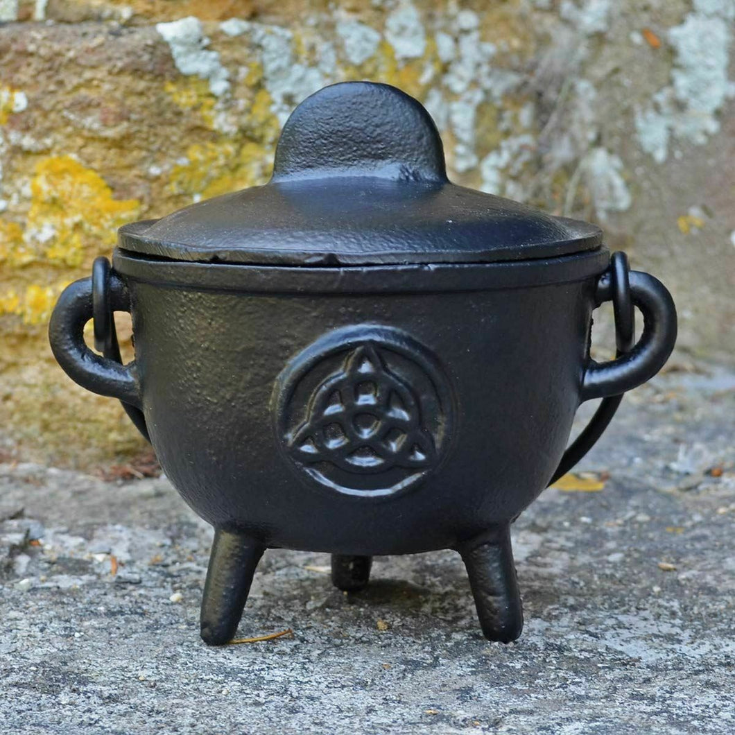 Cast Iron Cauldron Triquetra Witchcraft Wiccan Supplies Pagan Altar Accessory