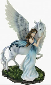 Large Fairy and Pegasus Companion Sculpture Statue Mythical Creatures Figure