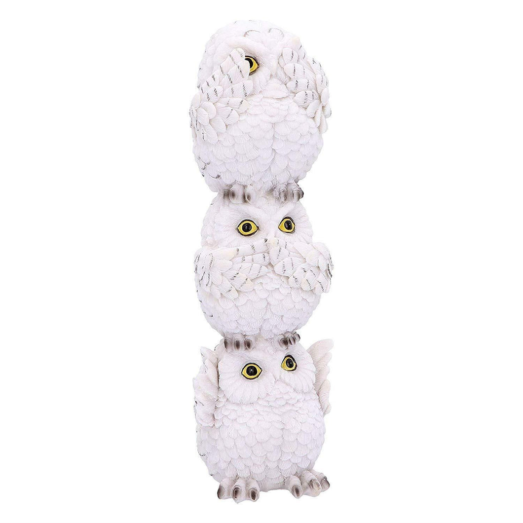 3 Wise Snowy Owls Figurine Sculpture Owl Ornament Decoration Gift