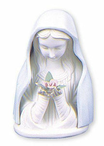 Illuminated Virgin Mary Statue Blue & White Porcelain Madonna Bust Religous Gift