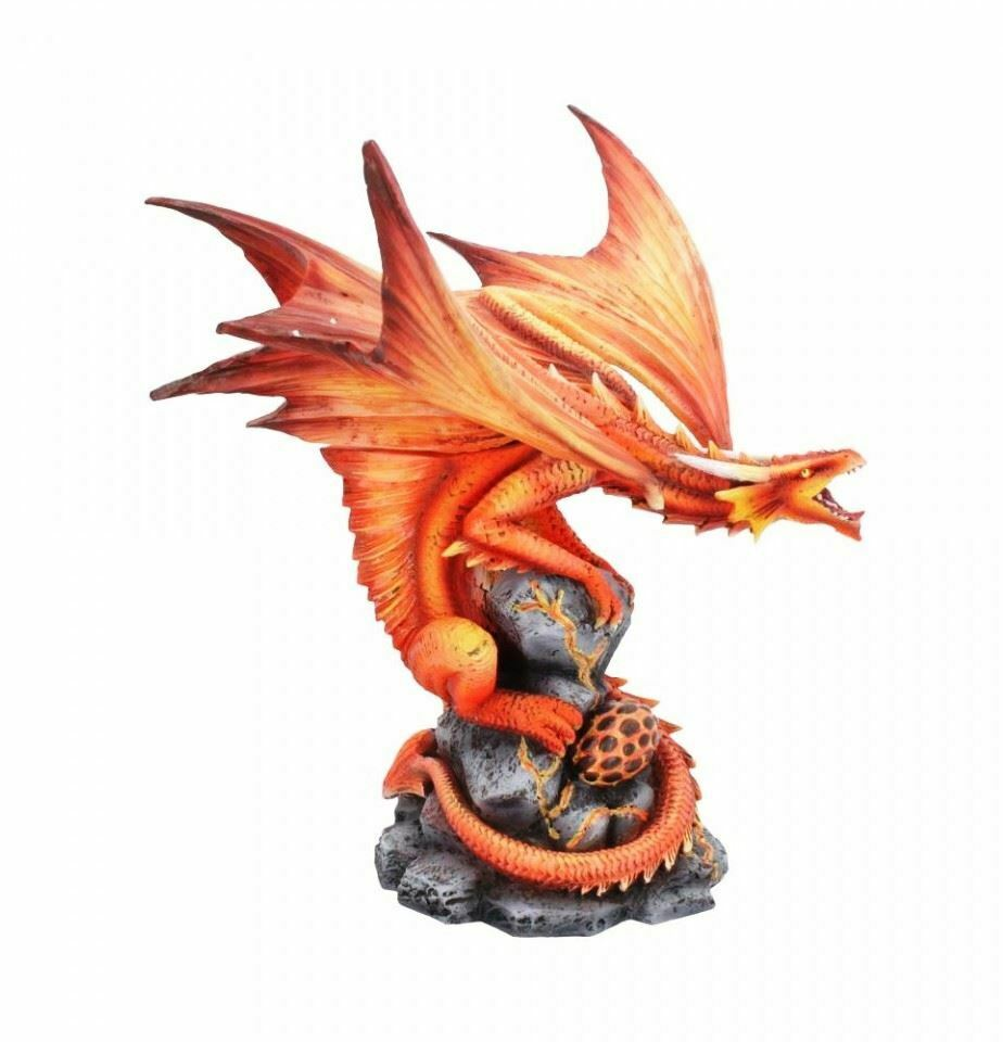 Fire Dragon Guarding Egg Figurine Statue Anne Stokes Sculpture Ornament