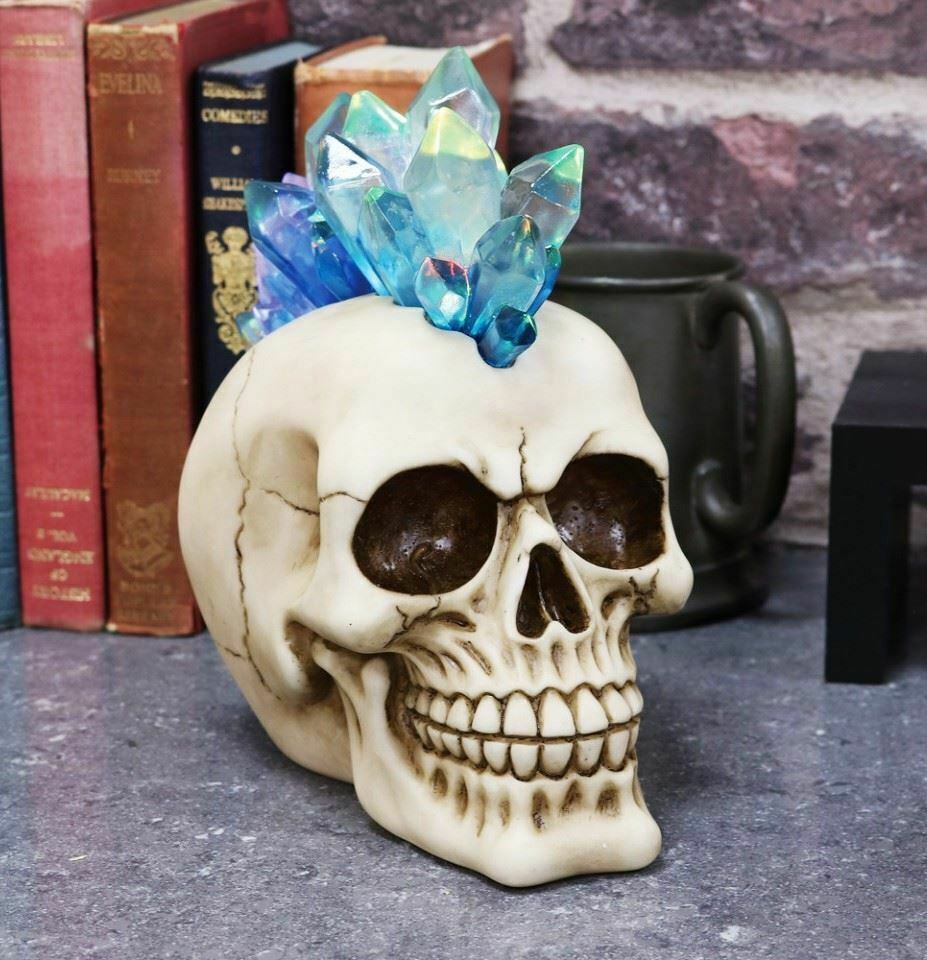 Crystal Mohawk Skull with Led Light Figurine Statue Ornament