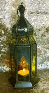 Moroccan Style Lantern Brass Antique Yellow Glass Tea Light Candle Holder