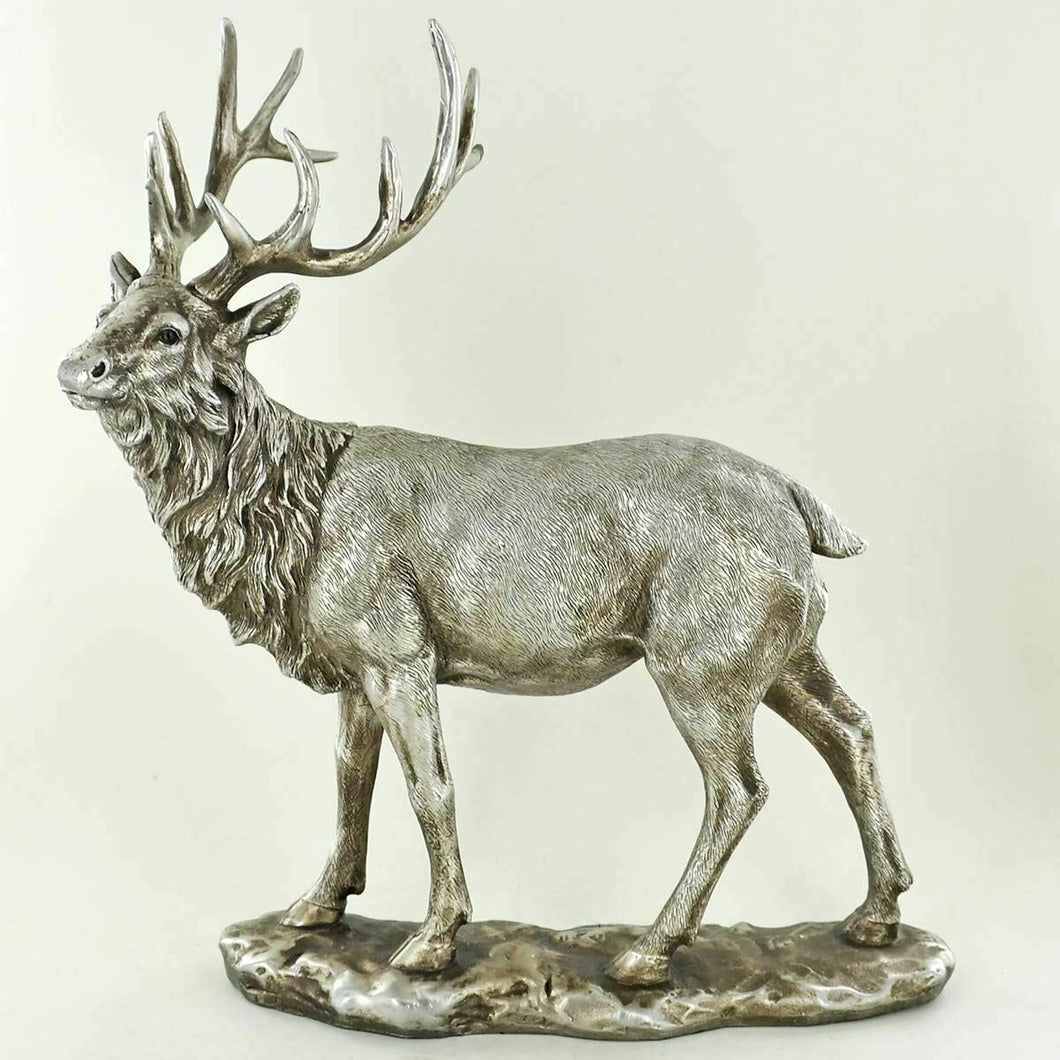 Antique Effect Silver Sculpture Stag Statue Deer Ornament Home Decoration