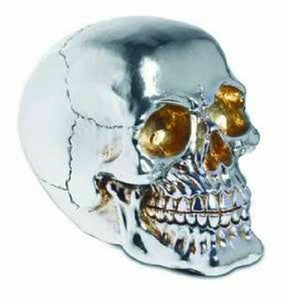 Fabulous Gothic Silver Mirrored Skull Figure Ornament Brand New And Boxed