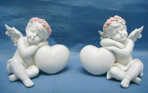 Pair of Guardian Angel Figurine Cherubs Resting on Heart Ornament Sculpture