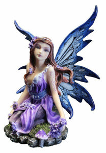 Purple Fairy Resting Ornament Sculpture Figurine Faerie Lover Ideal Gift Present