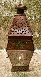 Moroccan Style Lantern Brass Antique Glass Tea Light Candle Holder Decoration