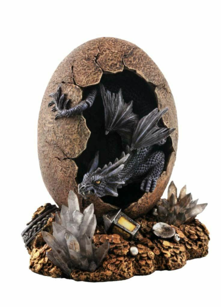 Novelty Blue Cave Water Dragon Hatching from Egg Figurine Statue Ornament