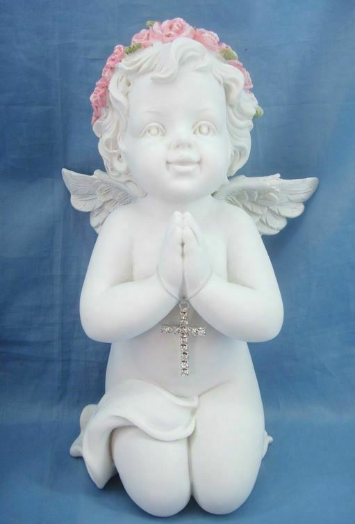 Guardian Angel Figurine Praying Cherub with Cross Statue Ornament Sculpture