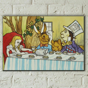 "Mad Hatters Tea Party Alice in Wonderland 8x12"" Ceramic Art Tile Decoration"