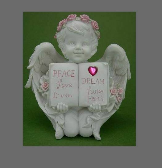 Guardian Angel Holding Book Figurine Cherub  Statue Peace Love Dream Figurine