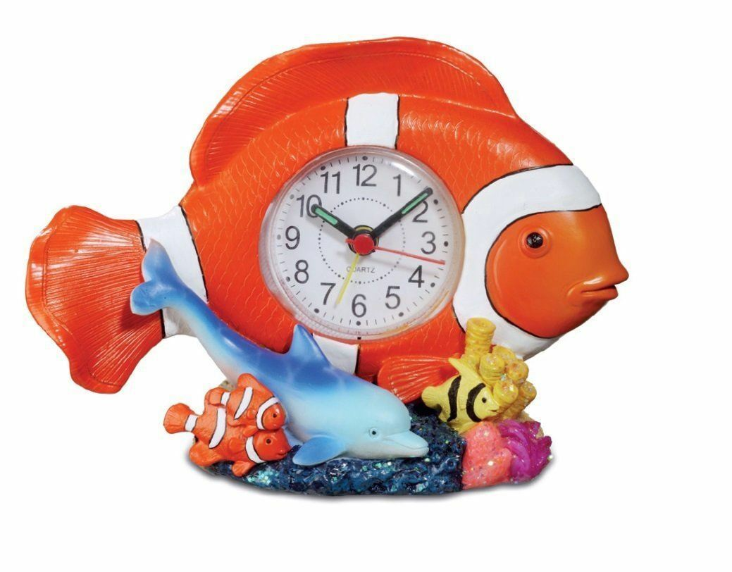 Comical Tropical Clown Fish And Dolphin Clock