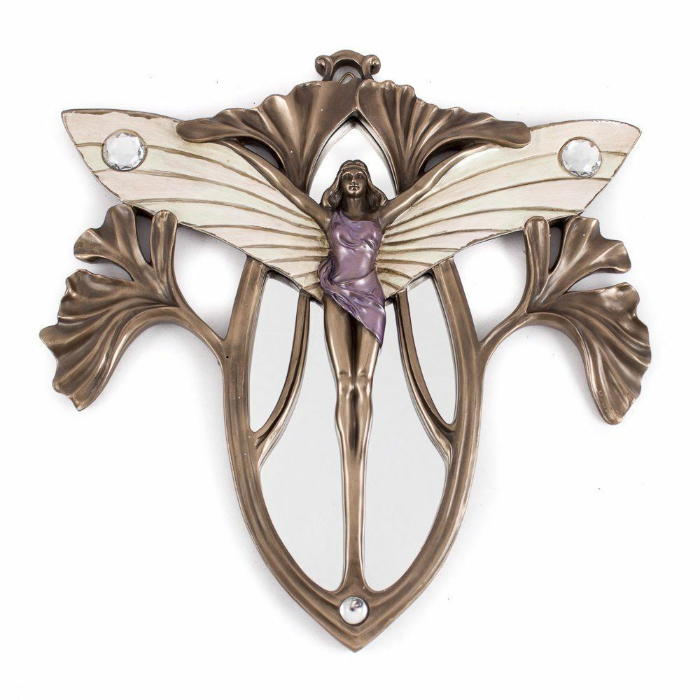ART NOUVEAU STYLE DANCING LADY BUTTERFLY MIRROR BRONZE RESIN PLAQUE WALL ART