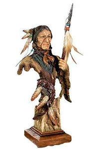 Native American Indian with Spear Bust Figurine Statue Ornament